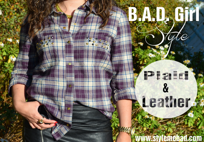 bad girl style plaid and leather