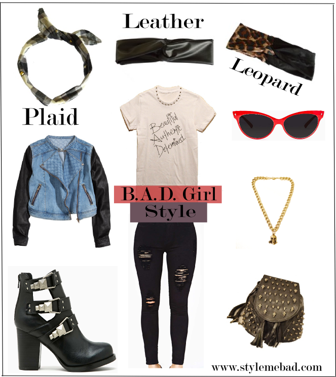 B A D Girl Style Leopard Leather Plaid Style Me B A D